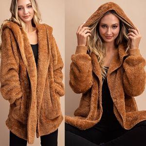 BRIANNE Furry Hoodie - CAMEL